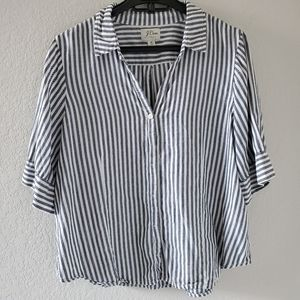 J Crew striped wide sleeve button down shirt